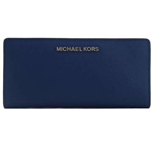 MICHAEL KORS JET SET 金字LOGO雙色對折扣式長夾.深藍
