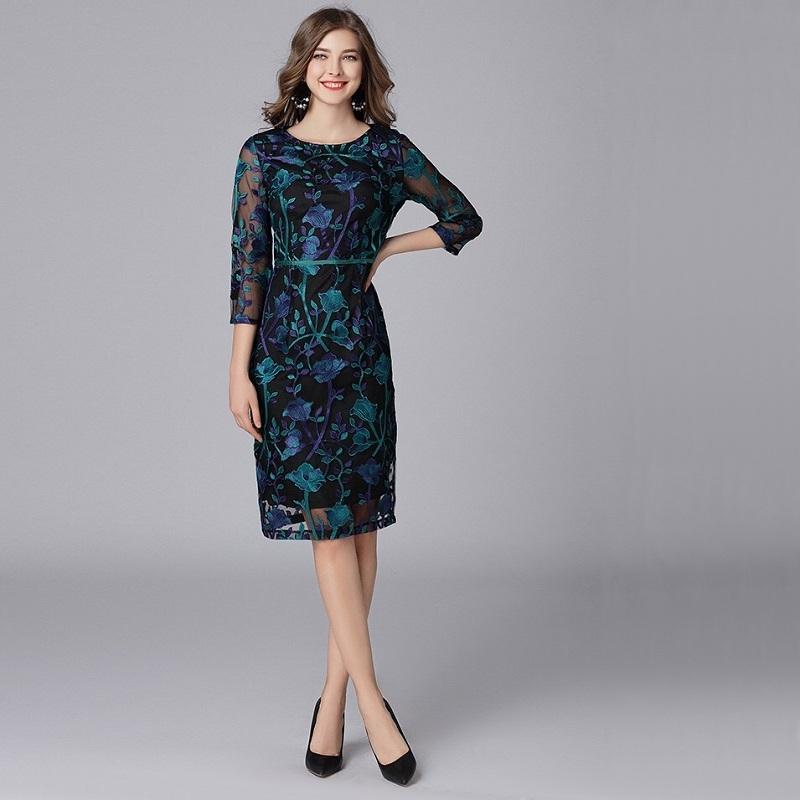 Olivia奧莉精品 復古精緻華麗剌繡洋裝 L~5XL 蕾絲 網紗 洋裝 連身裙 禮服 媽媽裝