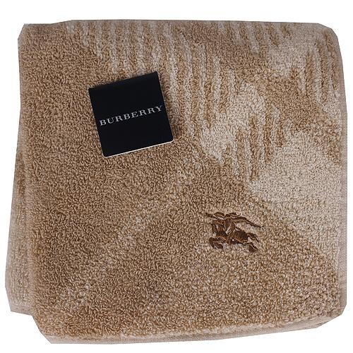 BURBERRY 經典戰馬刺繡蘇格蘭紋LOGO小方巾(駝色)