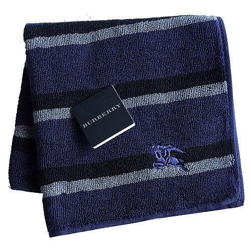 BURBERRY 經典戰馬刺繡LOGO橫條小方巾(深藍)