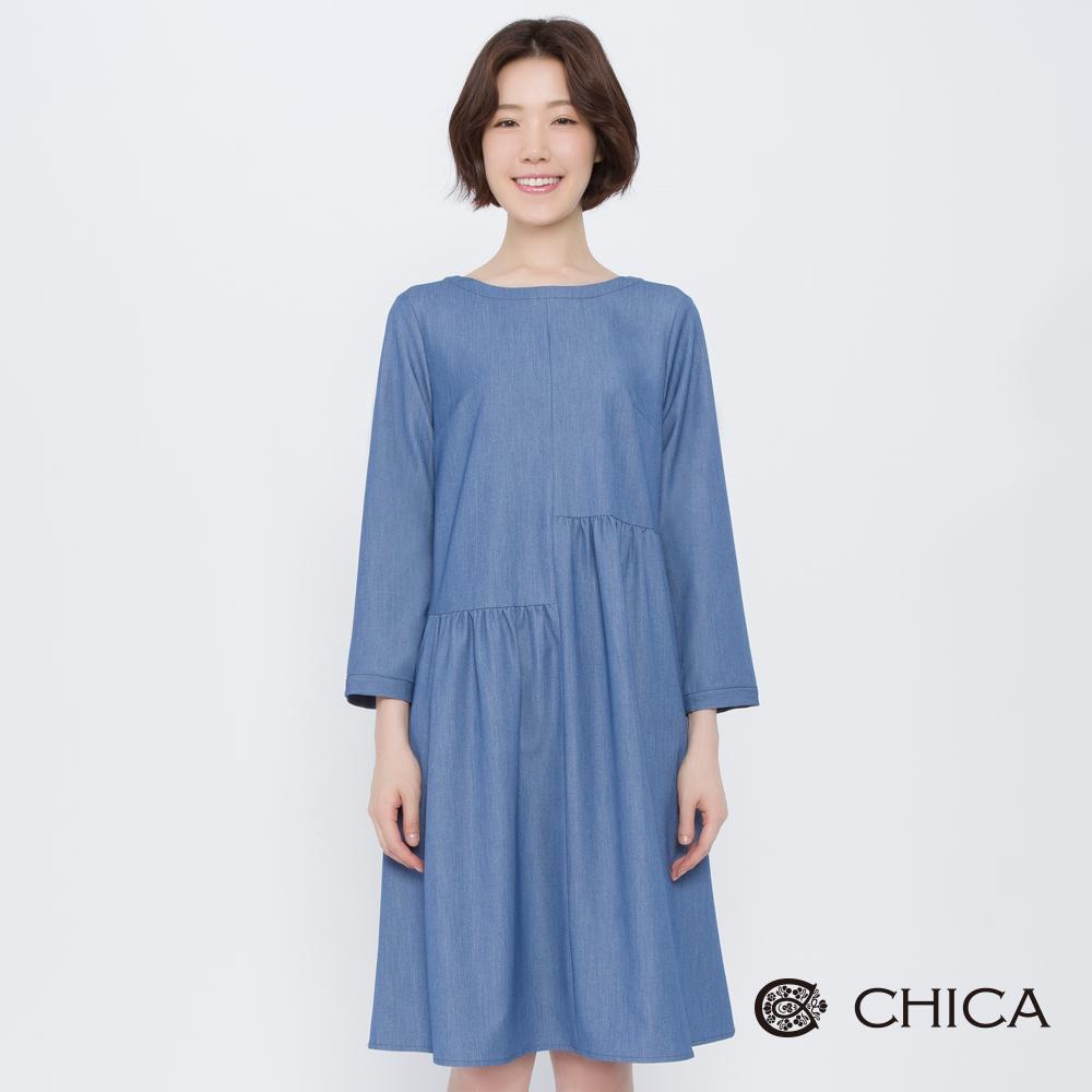 CHICA 甜美叛逆不對稱拼接丹寧洋裝(2色)