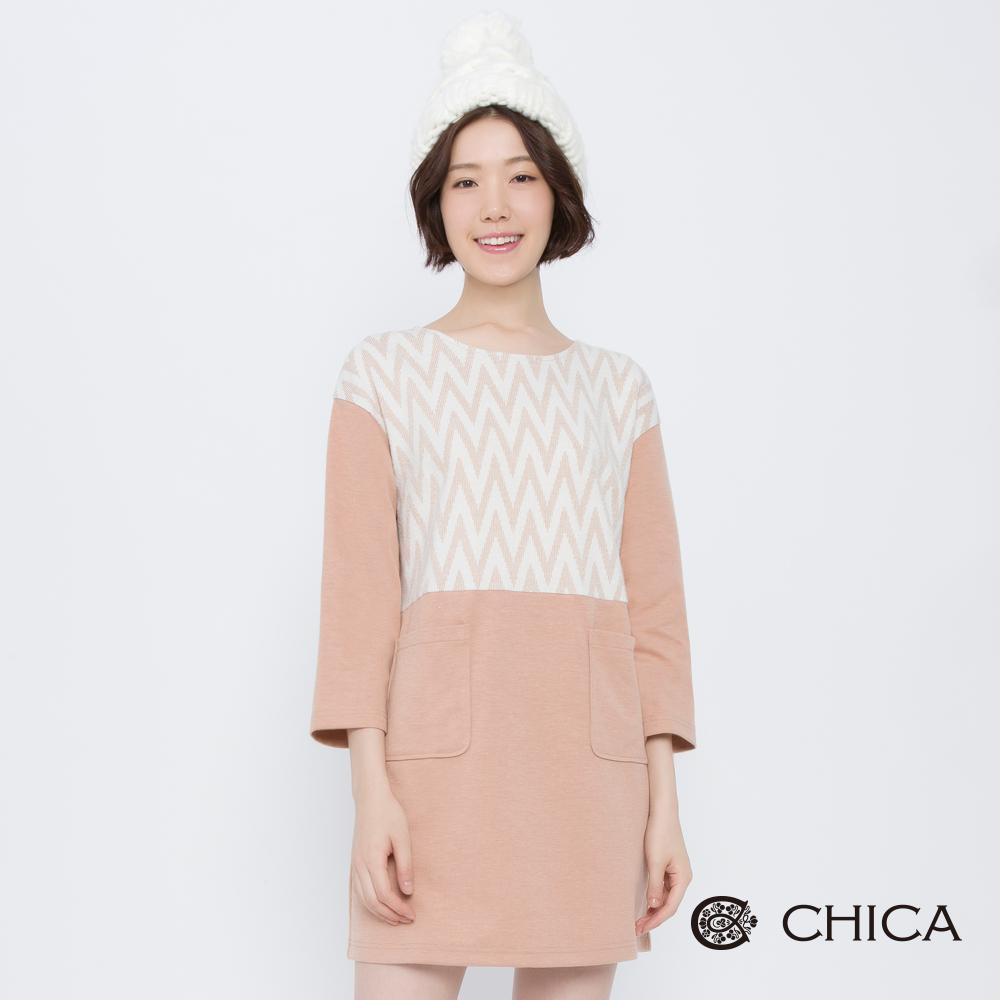 CHICA 冬日氣息幾何拼接口袋洋裝(2色)