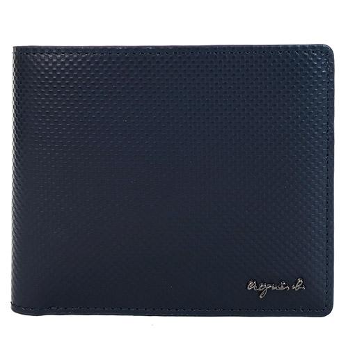 agnes b. 金屬logo壓紋男短夾(含錢袋)(深藍)