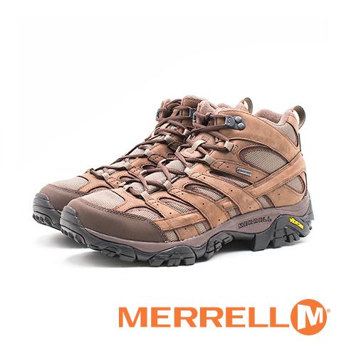 MERRELL MOAB 2 SMOOTH MID GORE-TEX®登山鞋/郊山鞋/黃金大底健走 男鞋-咖(另有黑)