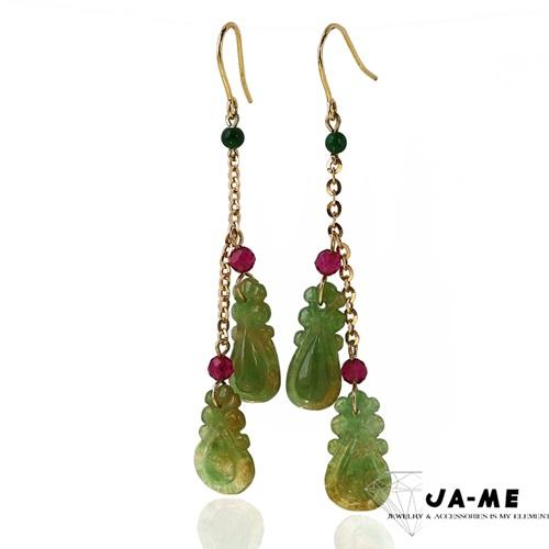 JA-ME天然A貨翡翠 流蘇設計14k金老三彩如意耳環