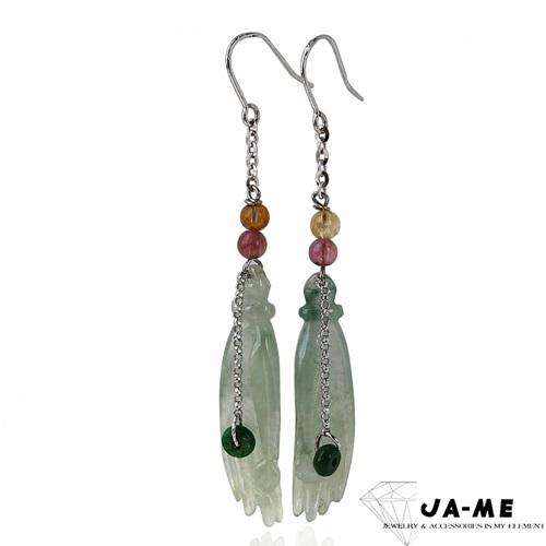 JA-ME天然A貨翡翠 冰種微透佛手14k金冰種掌上明珠耳環