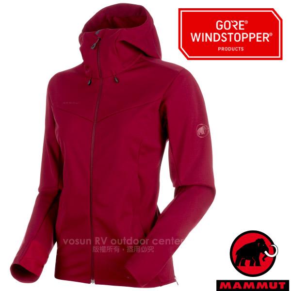 【瑞士 MAMMUT 長毛象】女新款 Ultimate V 防風透氣保暖機能連帽外套.軟殼保暖風衣.夾克/WINDSTOPPER 3層防風/1011-00072-3496 甜菜根