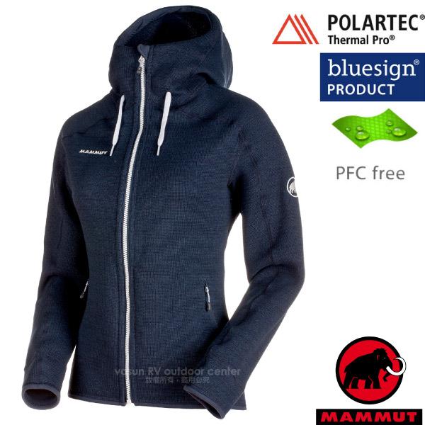 【瑞士 MAMMUT 長毛象】女款 Arctic ML Hooded 透氣快乾保暖連帽夾克外套/Polartec Thermal Pro保溫.無氟撥水/1041-15703-5784 海洋藍