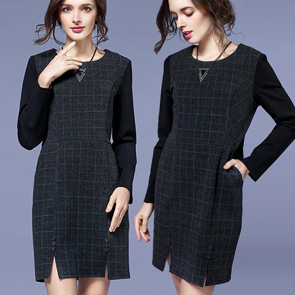 【麗質達人】3753格紋拼接假二件洋裝(L-5XL)