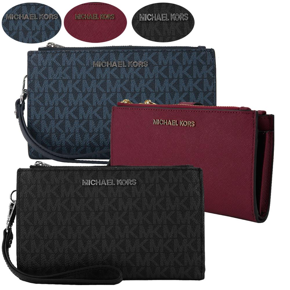 【Michael Kors】JET SET Logo PVC&十字紋防刮皮革雙層手掛式手拿長夾(3色)