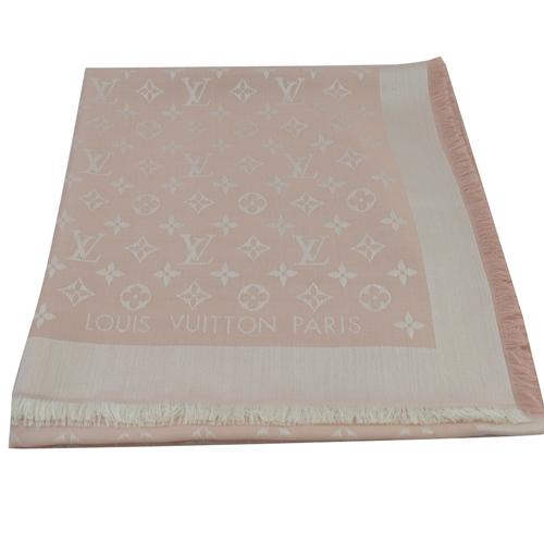 Louis Vuitton LV M72046 Monogram Denim 經典花紋羊毛絲綢披肩圍巾.粉_現貨