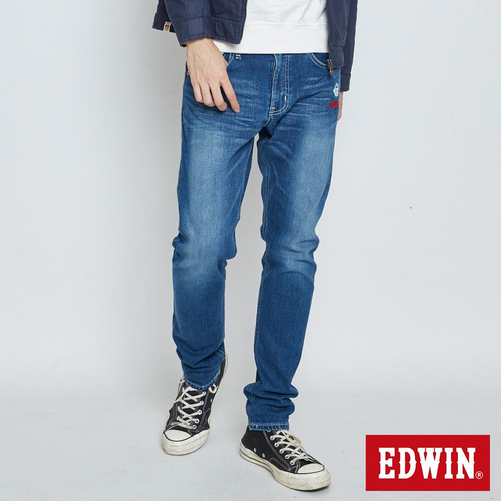 EDWIN 江戶勝 紅布邊AB牛仔褲-男-石洗藍