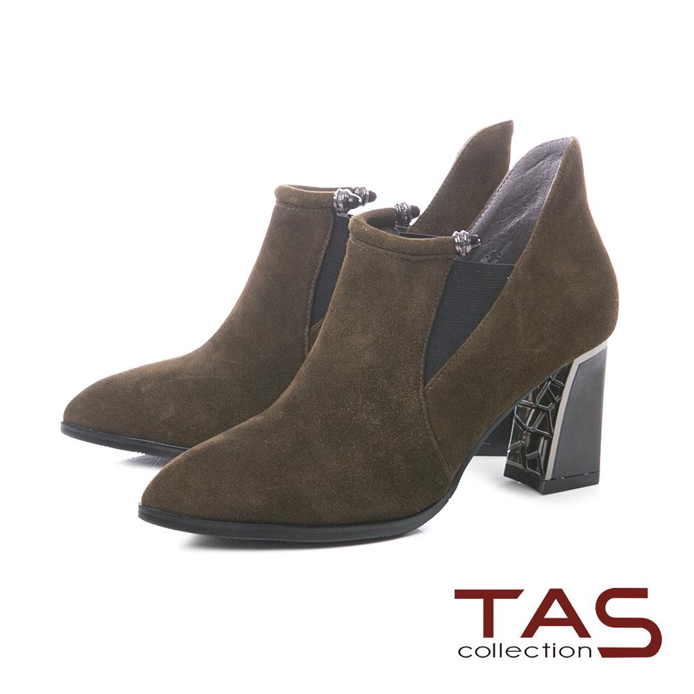 TAS質感素面麂皮拼接鬆緊帶高跟短靴–墨綠