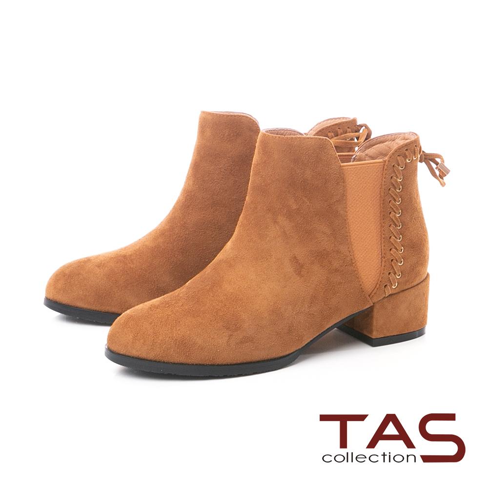 TAS蝴蝶結綁帶素面麂皮粗跟短靴–榛果卡其