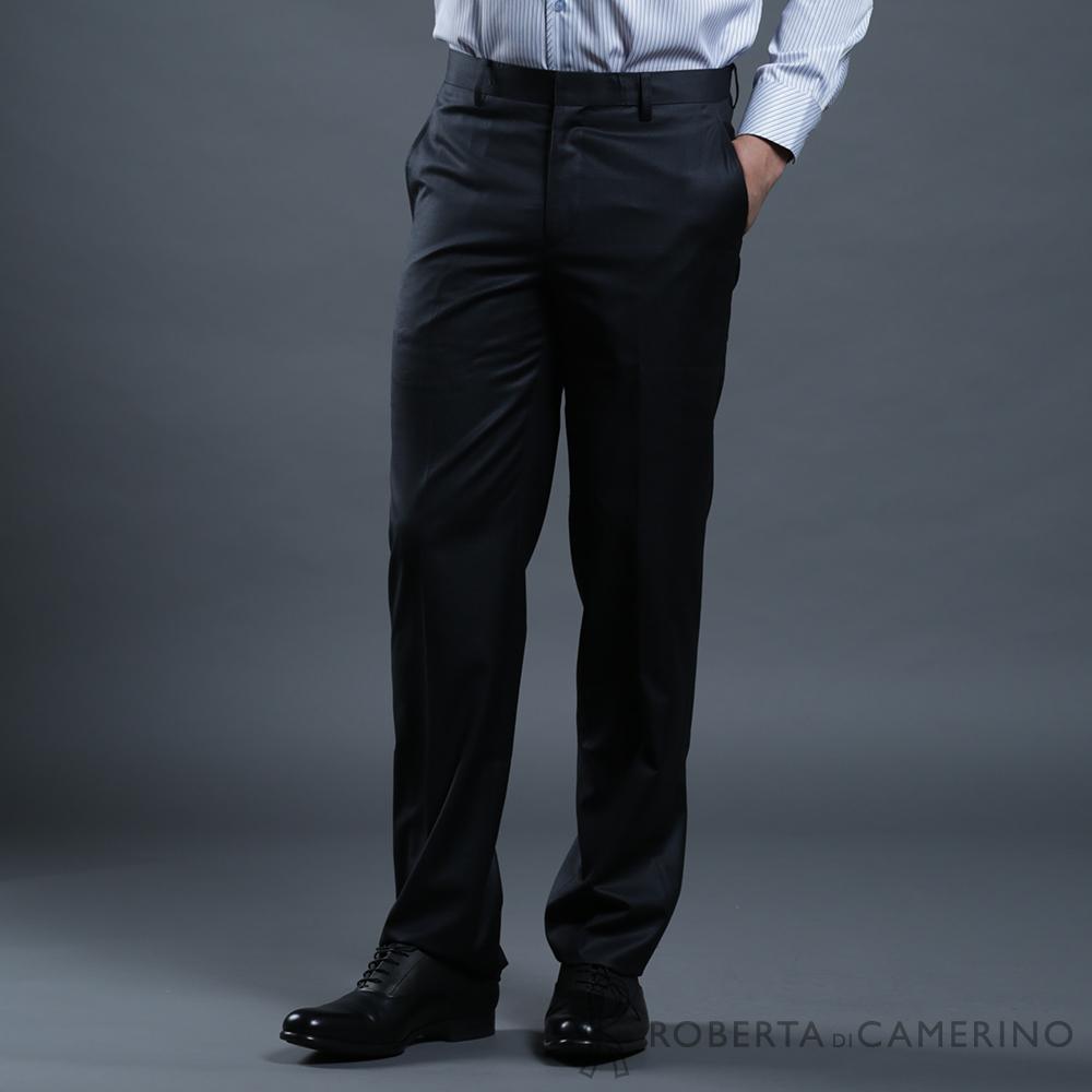 ROBERTA諾貝達 台灣製 合身版 輕量保暖 條紋西裝褲 黑色