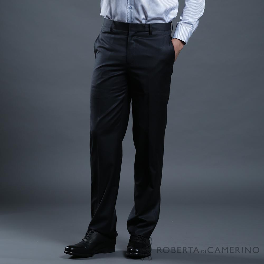 ROBERTA諾貝達 合身版 商務紳士 台灣製 羊毛細格紋西裝褲 黑色
