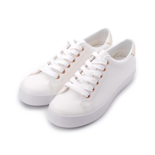 T-EGO 仿皮金扣綁帶休閒鞋 白 女鞋 鞋全家福