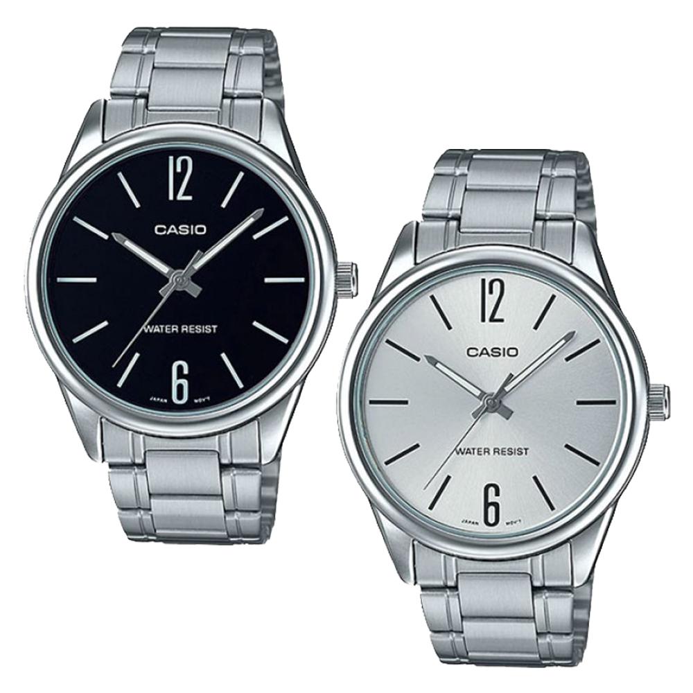CASIO卡西歐 早安清爽大錶面鋼帶男錶-黑/銀x47mm MTP-V005D-1B/7B