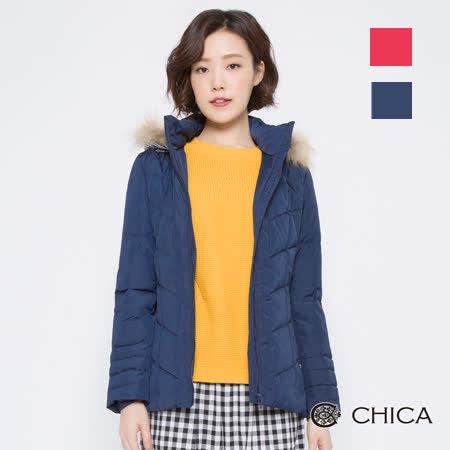 CHICA (共2色) 貉子毛連帽羽絨外套