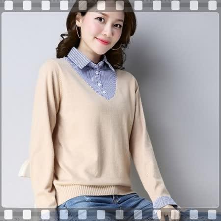 adora 韓版假兩件針織衫