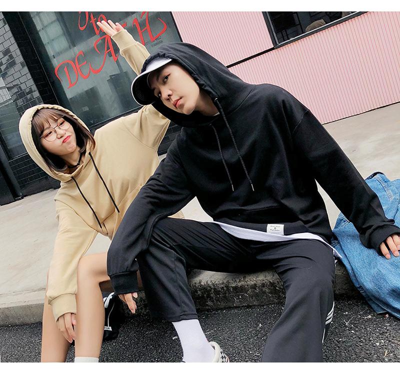 【charme】棉質拼接假兩件情侶款衛衣帽T(共四色)