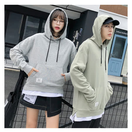 【charme】棉質拼接假兩件情侶款衛衣帽T(灰色)