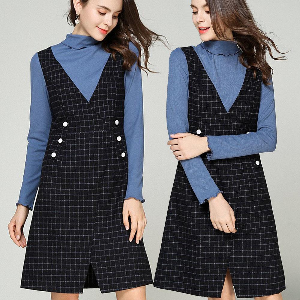 【麗質達人】79500格紋拼接假二件洋裝(M-5XL)