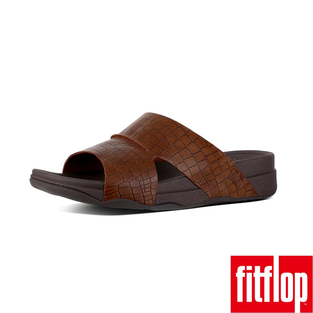 FitFlop - (男款)BANDO CROC EFFRCT LEATHER SLIDE SANDALS-深褐色