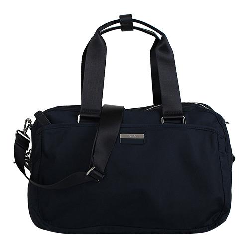 agnes b.- 銀/黑 logo鐵牌手提/斜背旅行袋(深藍/銀拉鍊)/小