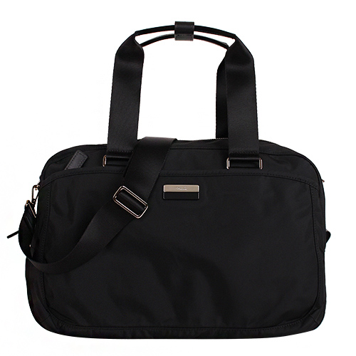 agnes b.- 銀/黑 logo鐵牌手提/斜背旅行袋(黑/銀拉鍊)/小