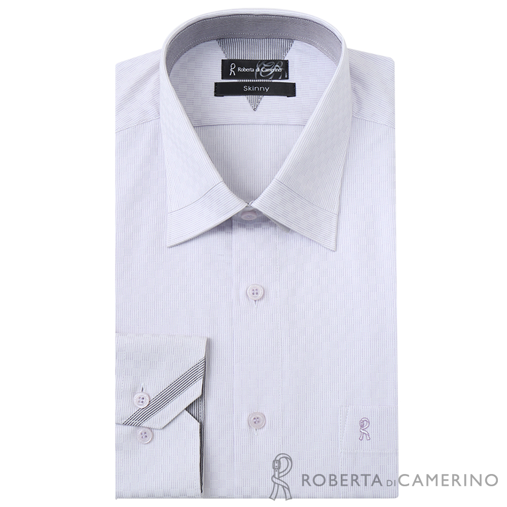 ROBERTA諾貝達 台灣製 合身版 獨家設計款 長袖純棉襯衫 淺紫