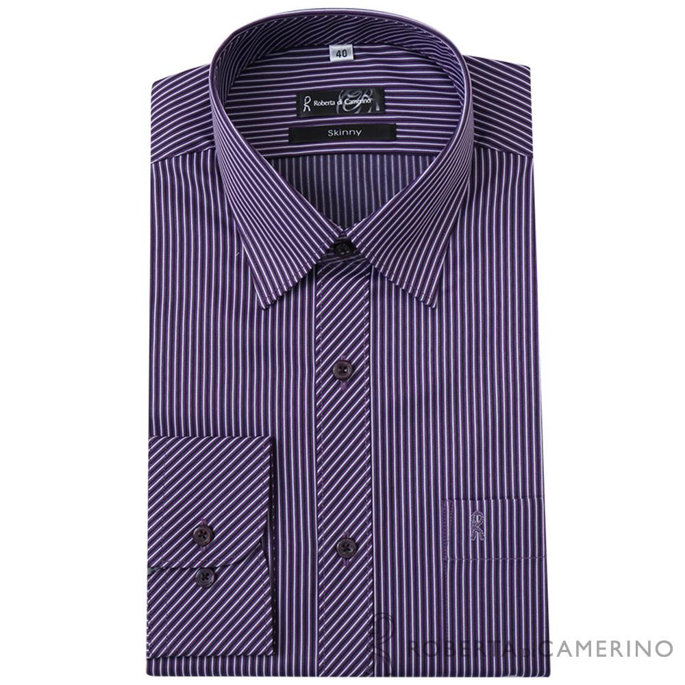 ROBERTA諾貝達 台灣製 商務型男 合身版 雙色條紋長袖襯衫  黑紫