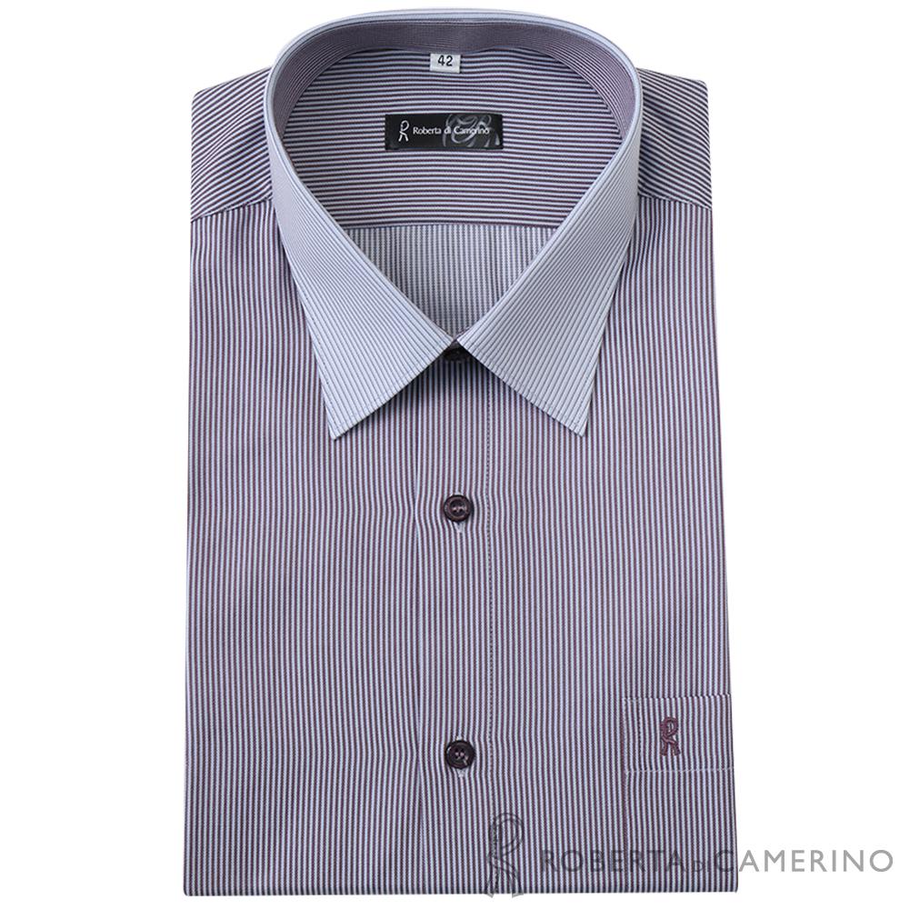 ROBERTA諾貝達 台灣製 商務型男 合身版 雙色條紋長袖襯衫  灰紫