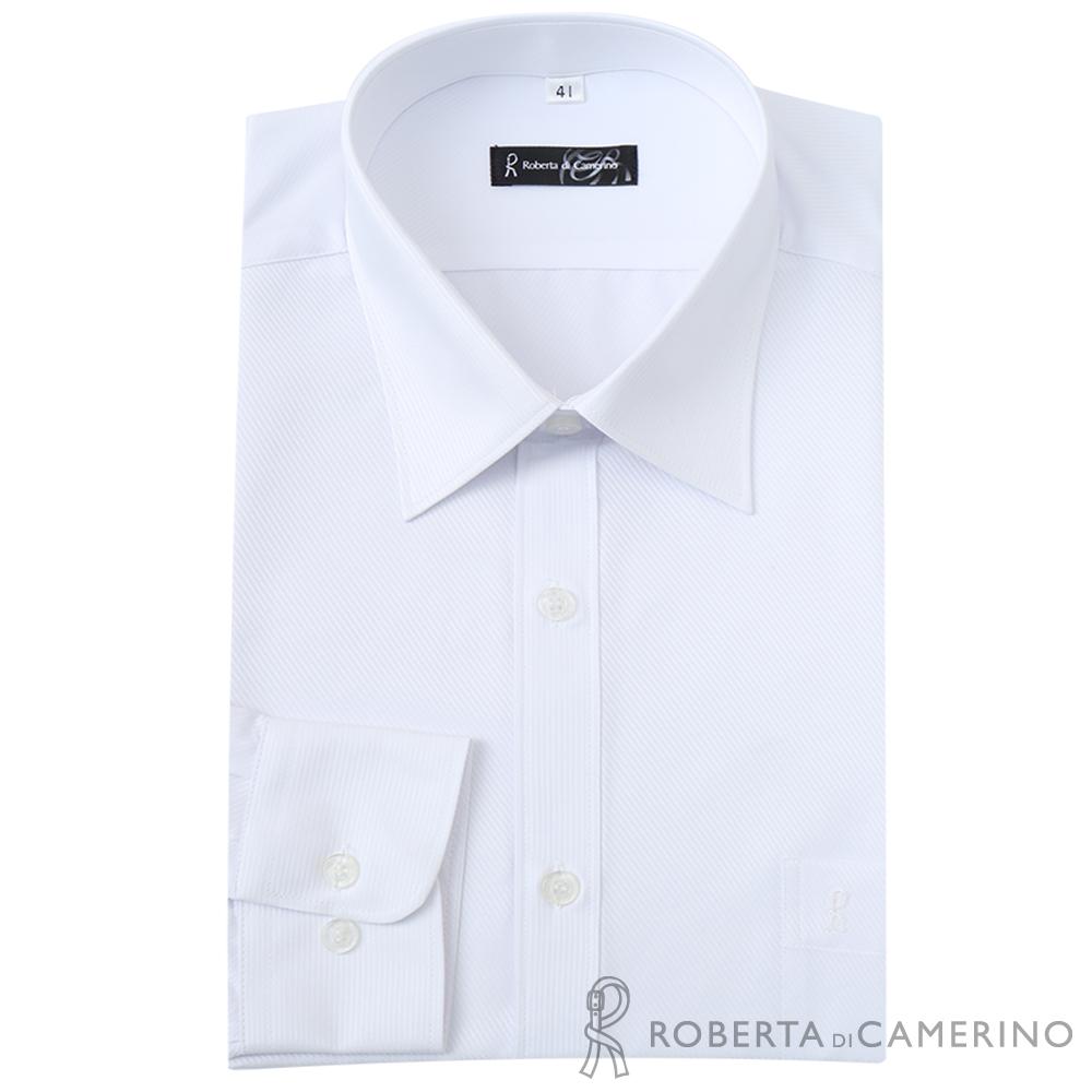 ROBERTA諾貝達 台灣製 合身版 商務型男 吸溼速乾長袖襯衫 白色
