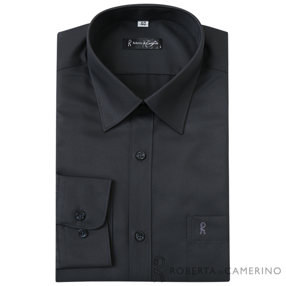 ROBERTA諾貝達 台灣製 合身版 商務型男 吸濕速乾長袖襯衫  深灰