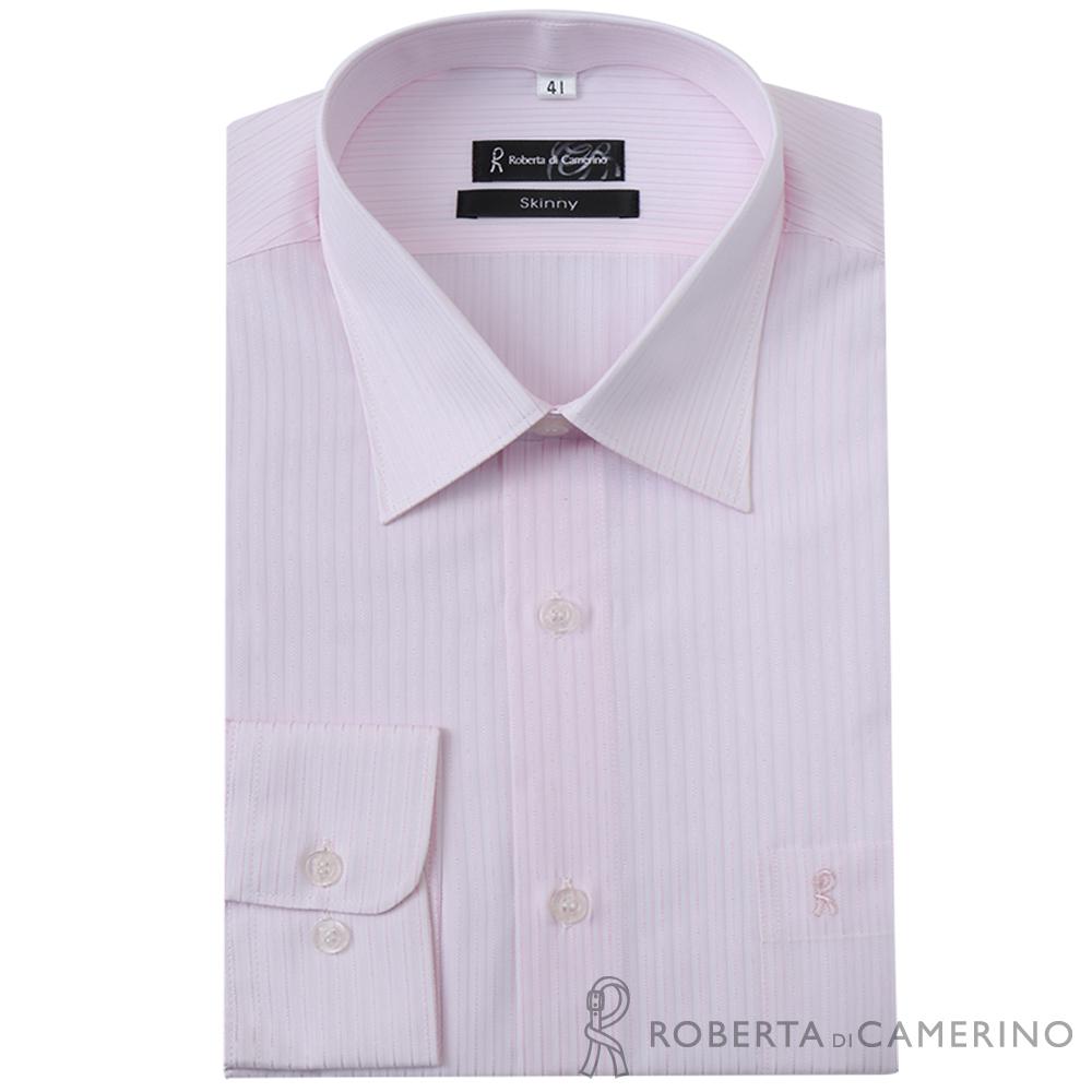 ROBERTA諾貝達 台灣製 合身版 商務紳士 條紋長袖襯衫  粉紅