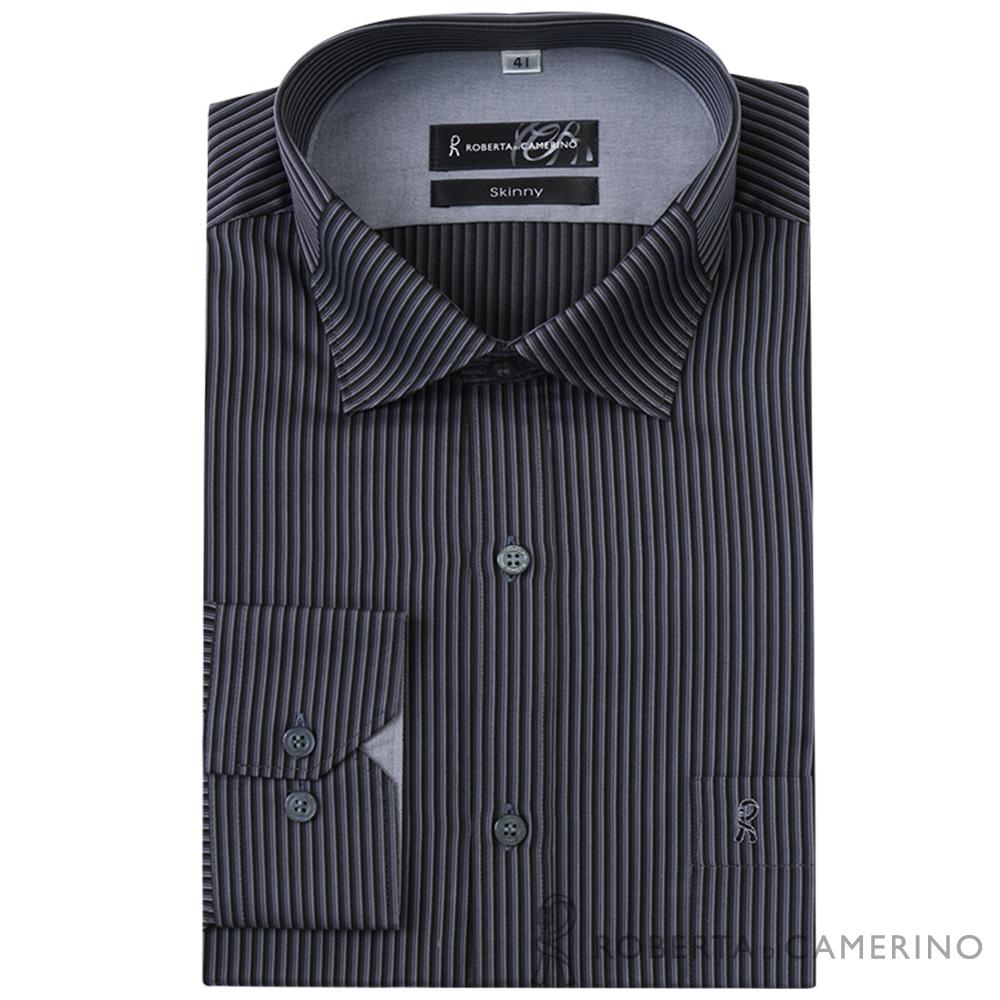 ROBERTA諾貝達 台灣製 合身版 吸濕速乾條紋長袖襯衫   黑灰