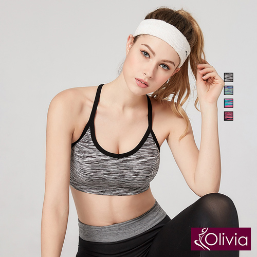 【Olivia】無鋼圈高彈力防震美背運動內衣-黑色