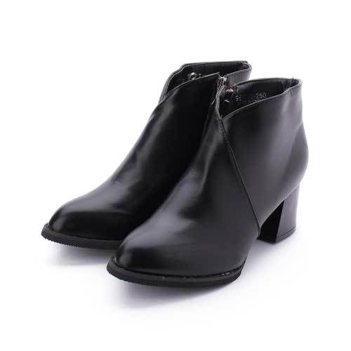 RIN RIN 素面尖頭方跟踝靴 黑 女鞋 鞋全家福