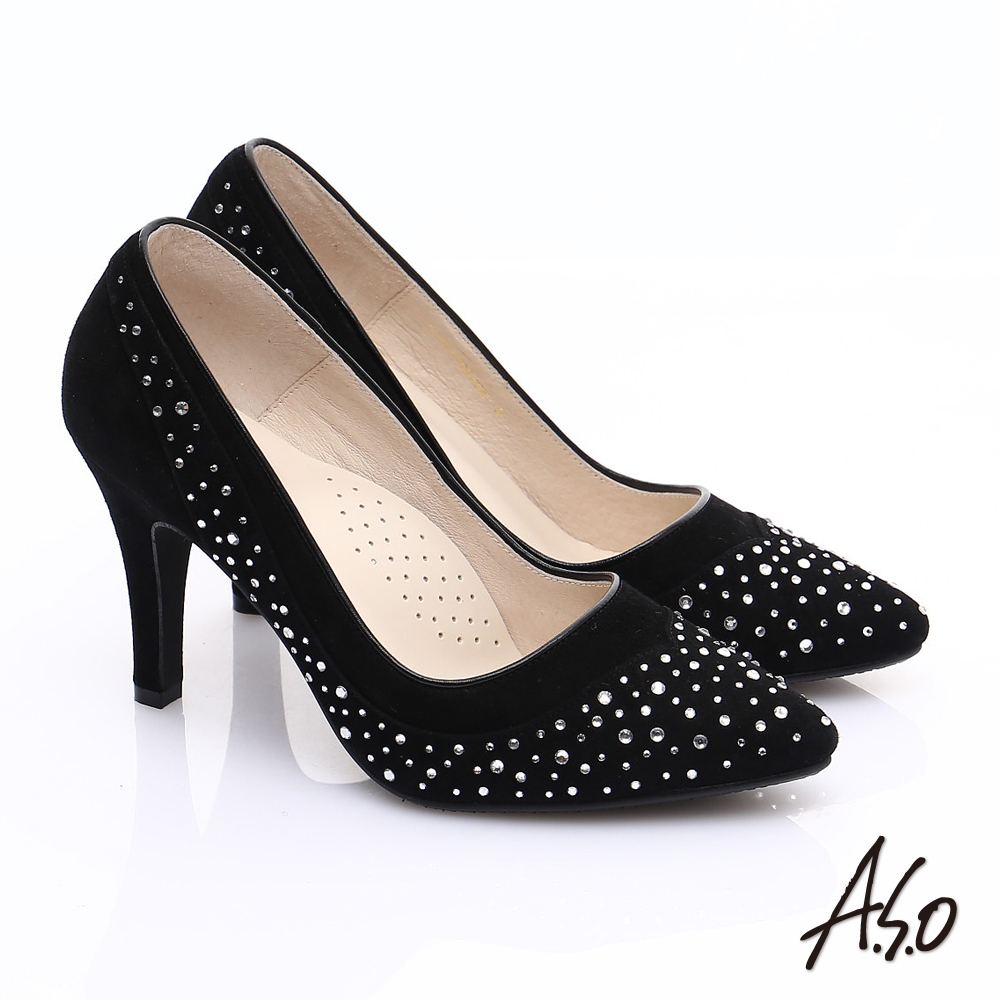 A.S.O 輕透美型 全真皮雙材質水鑽高跟鞋(黑)