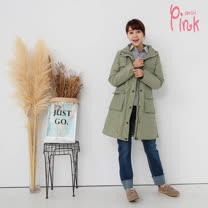 Pink*百搭長版連帽羽絨外套(帽子可拆) K5705BT