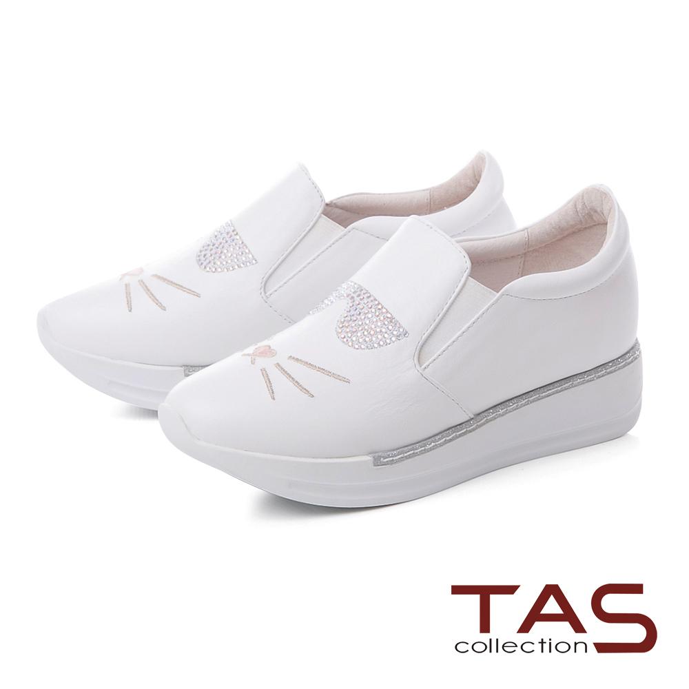 TAS水鑽貓咪造型真皮內增高休閒鞋-個性白