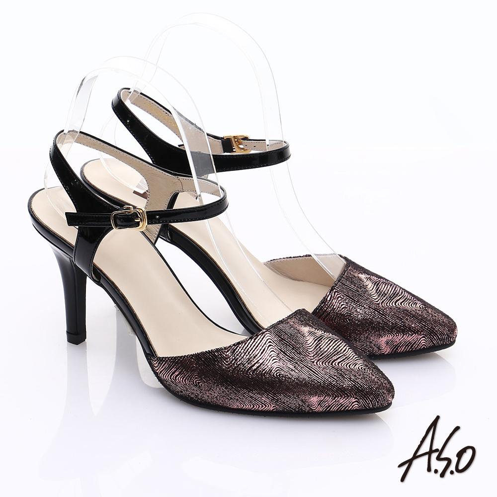 A.S.O 輕透美型 鏡面牛皮金箔繫帶高跟涼鞋(紅)