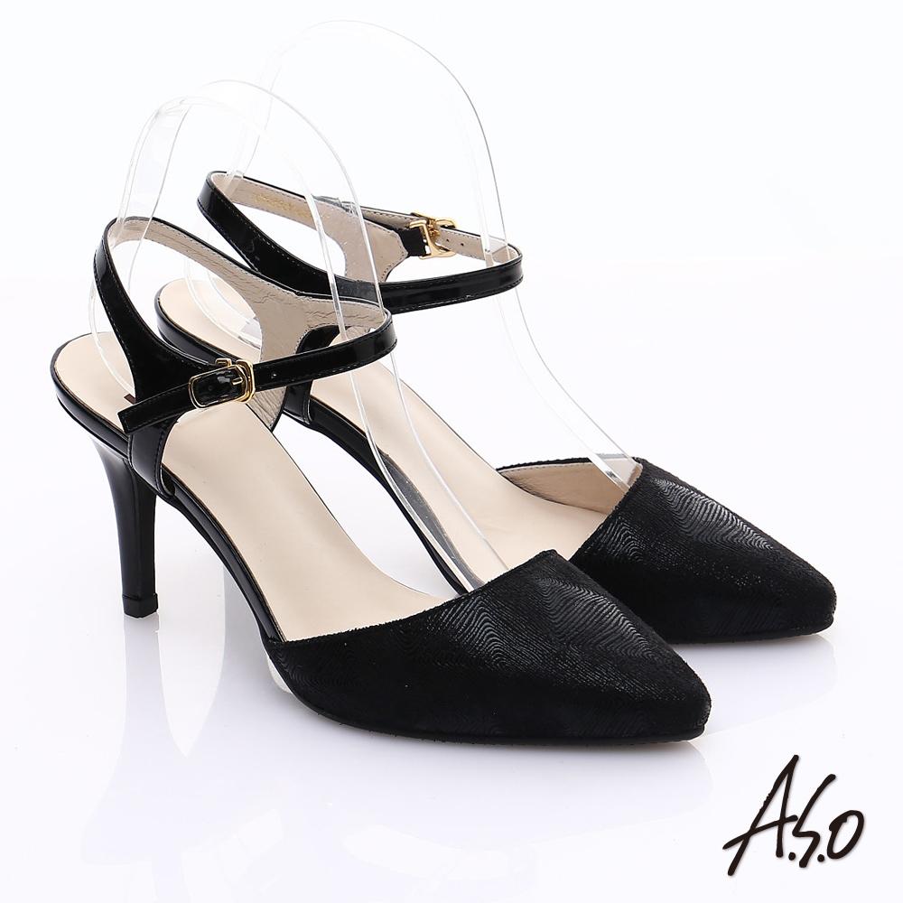 A.S.O 輕透美型 鏡面牛皮金箔繫帶高跟涼鞋(黑)