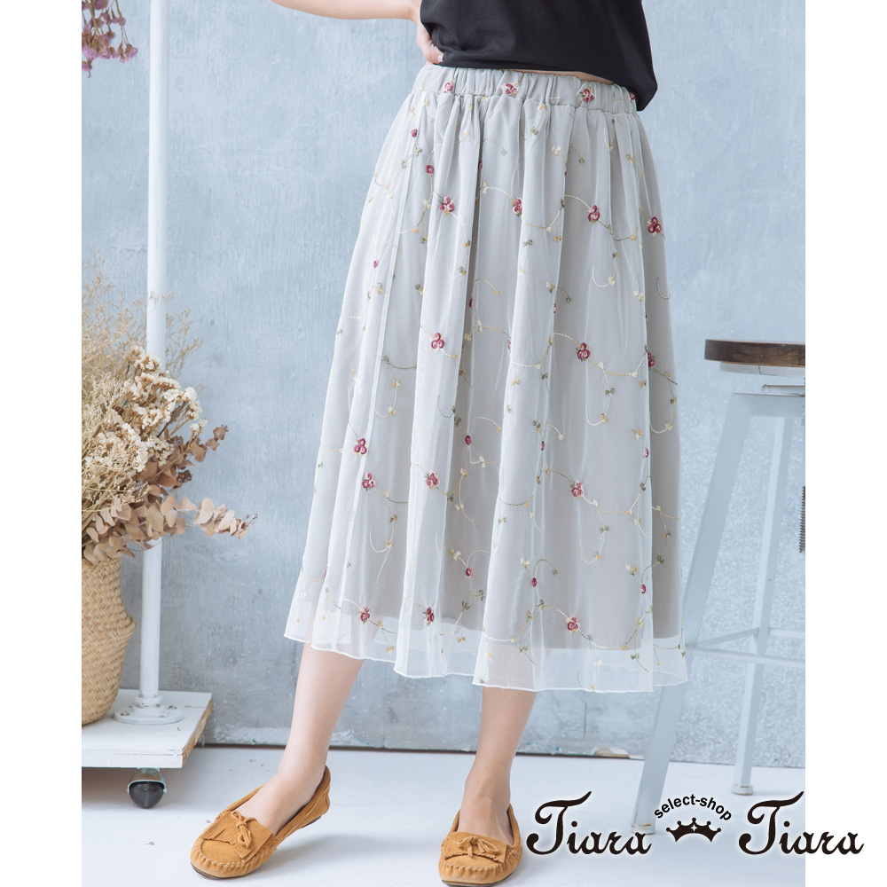 【Tiara Tiara】激安 花藤蜿蜒鬆緊腰半身裙(白/紫)