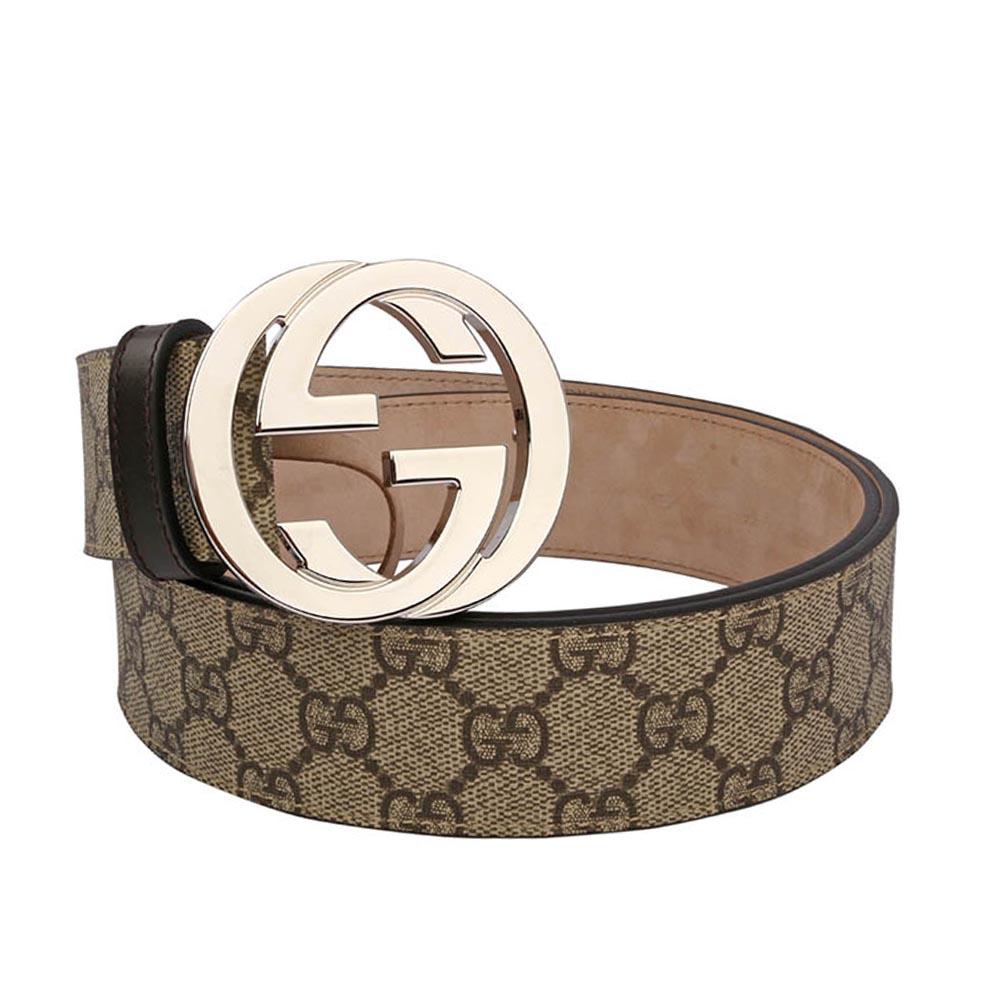 GUCCI  大雙G 銀logo防水皮革皮帶(咖啡色)