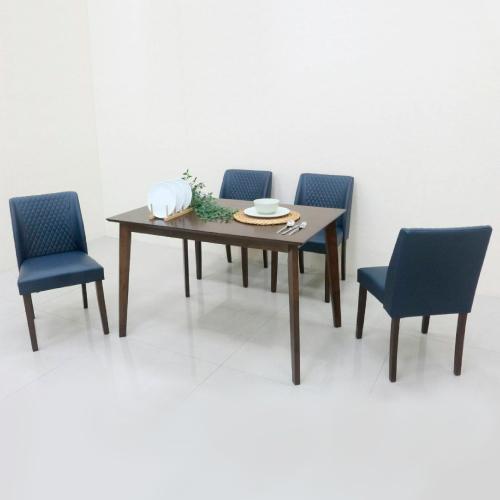 AS-爾達胡桃色4尺餐桌120x75x75cm(一桌四椅)