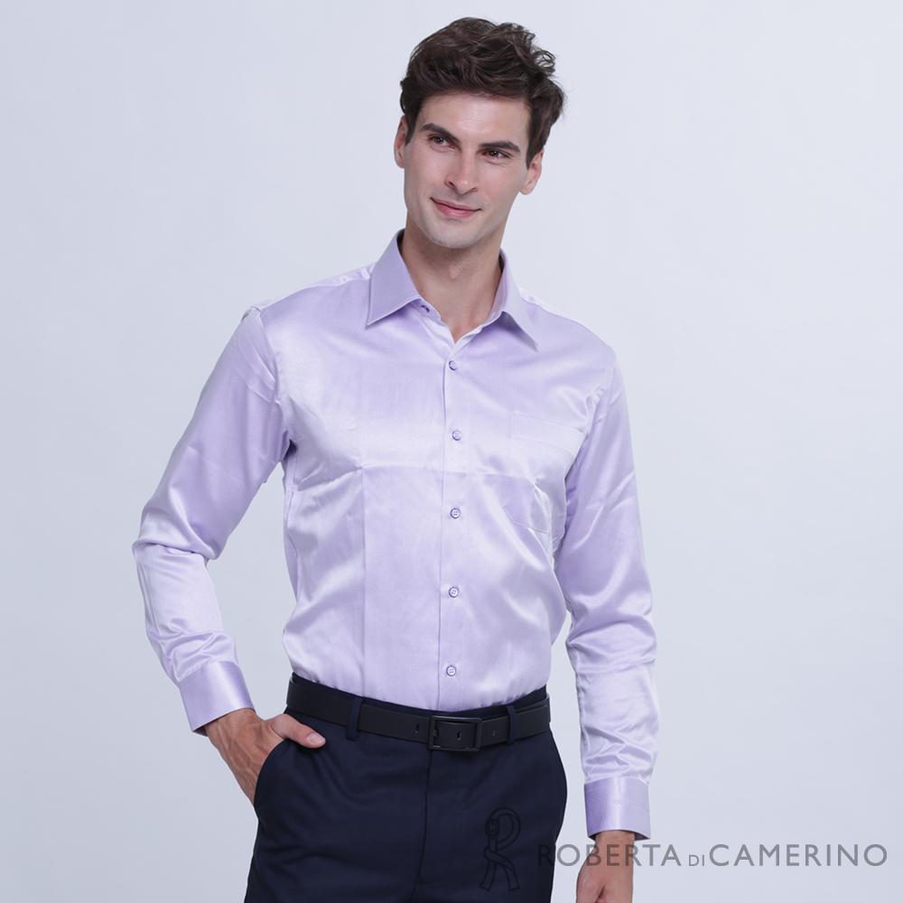 ROBERTA諾貝達 台灣製 商務型男 合身版 長袖襯衫  紫色