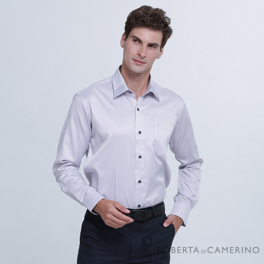 ROBERTA諾貝達 台灣製 商務型男 條紋長袖襯衫  灰紫