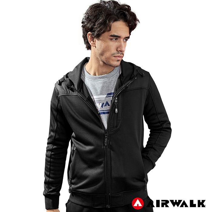 【AIRWALK】男款連帽中厚拼接外套-黑色